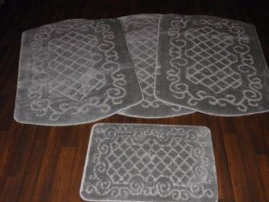 GYPSY WASHABLES TRAVELLERS MATS 4PCS NON SLIP NEW DESIGN SUPER THICK SILVER/GREY
